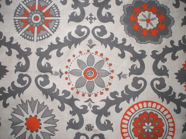 84 Shower Curtain Unlined Rosa Orange Grey Beige Geometric Contempo