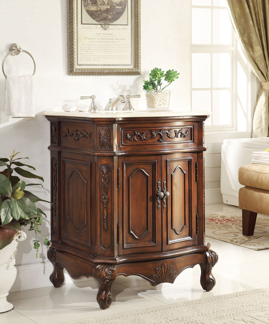 27 Inch Antique Bathroom Vanity Lush Wood Finish