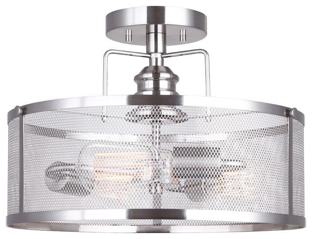 Shop Progress Lighting 4 Light Calven Brushed Nickel: Canarm Beckett 3 Light Semi-Flush Mount With Metal Mesh