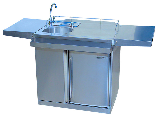 outdoor kitchen cart amp beverage center with fridge amp sink outdoor kitchen carts and islands outdoor prep table and