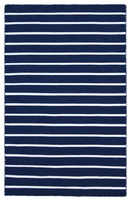 Syros Navy Blue & White Pinstripe Indoor Outdoor Rug