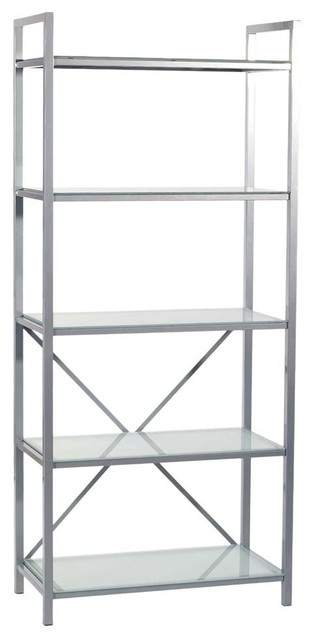 Madrid Five Tier Metal & Glass Office Storage Unit - Contemporary - Bookcases - by ShopLadder