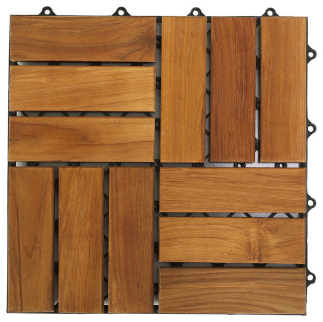 Interlocking wood floor tiles teak set of 10 for Hardwood outdoor decking