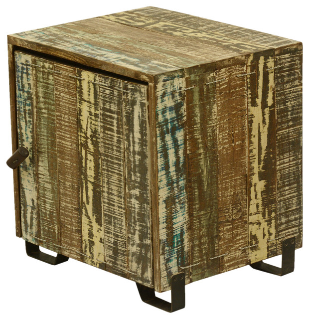 Rustic rural reclaimed wood end table cube cabinet w for Solid wood cube side table