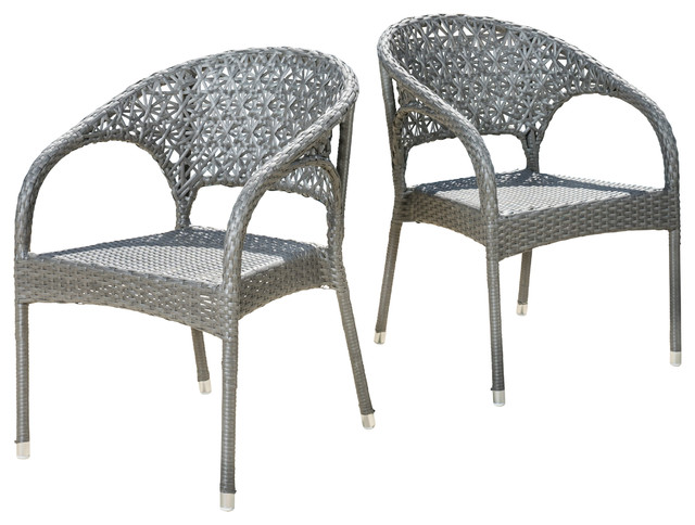 Yasmin Metal Grey Wicker Dining Chairs Set of 2 Contemporary Outdoor Din