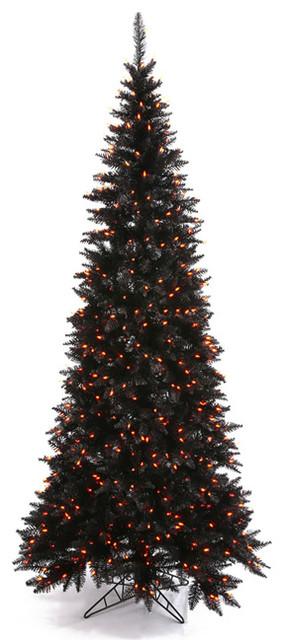 Pre-Lit Black Fir Slim Artificial Halloween/Christmas Tree ...