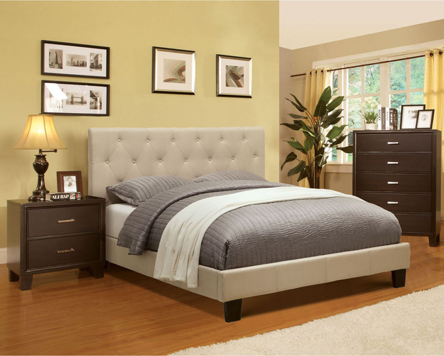 Furniture Of America Perdella 3 Piece Ivory Low Profile Bedroom Set Contemporary Bedroom