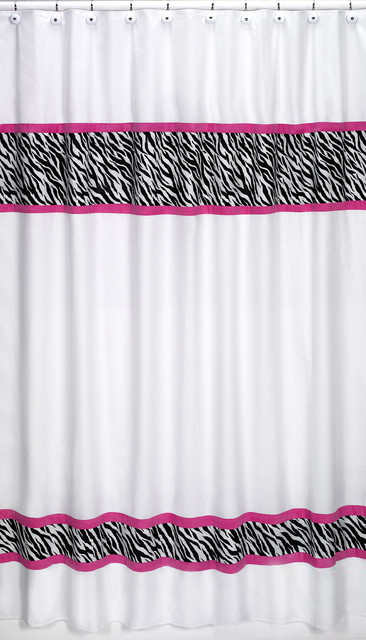 Sweet Jojo Designs Pink Funky Zebra Shower Curtain Contemporary Shower Curtains By