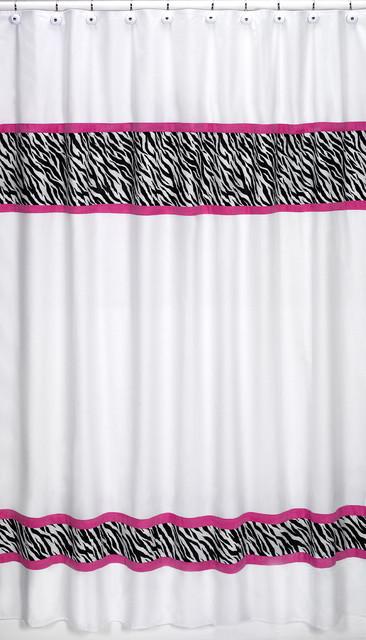 Sweet jojo designs pink funky zebra shower curtain - Funky bathroom accessories uk ...
