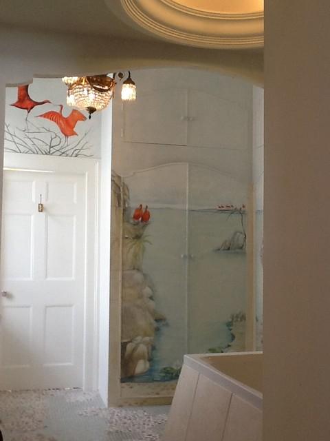 Bathroom seascape and garden mural beach style north for Seascape bathroom ideas