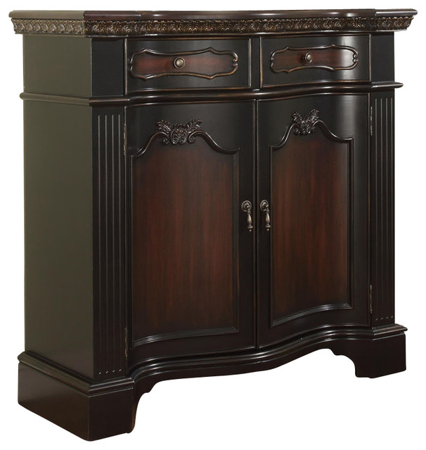 Powell Black and Cherry Fluted Pilaster 2-Door Cabinet - Traditional - Accent Chests And ...