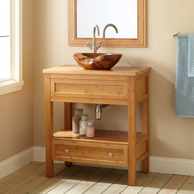 30 Narrow Depth Miles Bamboo Vessel Sink Console Vanity Modern Bath