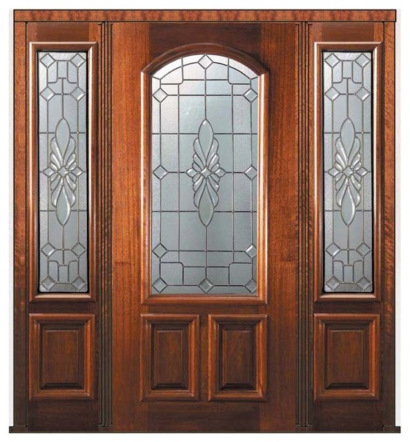 Prehung sidelights door 80 mahogany versailles arch lite for Exterior glass wall texture