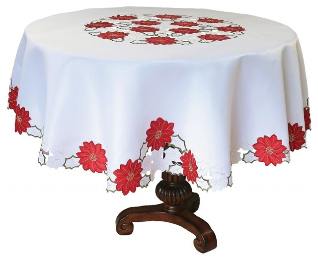 Holiday Poinsettia Embroidered Cutwork Tablecloth 70 Inch