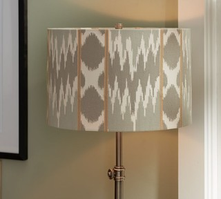 Karlie Ikat Embroidered Drum Lampshade Contemporary
