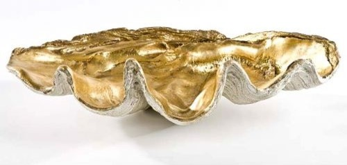 large clam shell with antique gold leaf tropical home decor