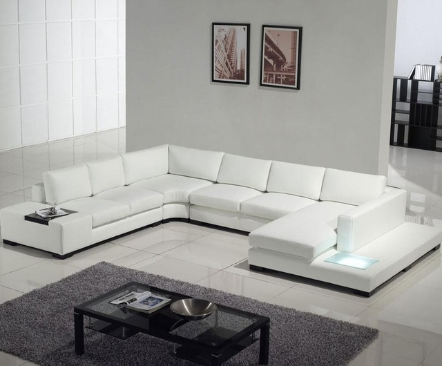 Modern White Top Grain Leather Sofa