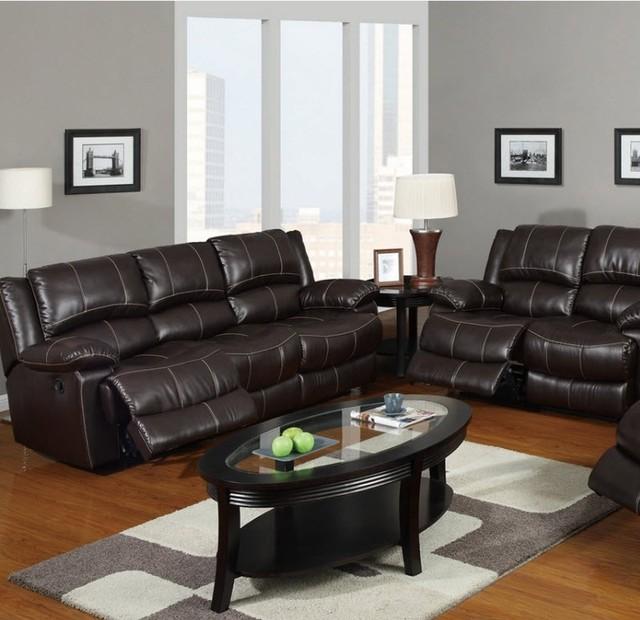 poundex furniture dark brown bonded leather sofa f7089 contemporary sofas salt lake. Black Bedroom Furniture Sets. Home Design Ideas