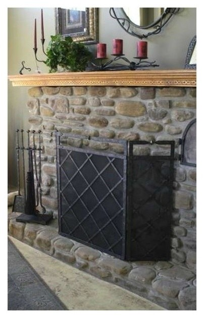 Forest hill triple panel fire screen natural black contemporary fireplace screens by - Houzz fireplace screens ...