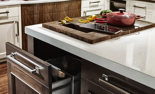built in countertop cutting board,
