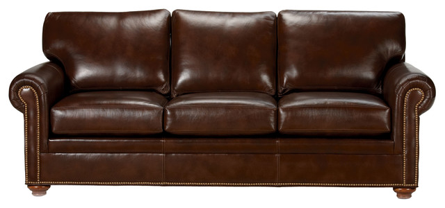 Conor Leather Sofa, Omni/Brown - Traditional - Sofas - by Ethan Allen