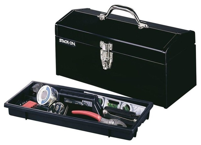 """Hip Roof Steel Tool Box, Black, 16"""" - Contemporary - Garage And Tool Storage - by Amplified E-Store"""