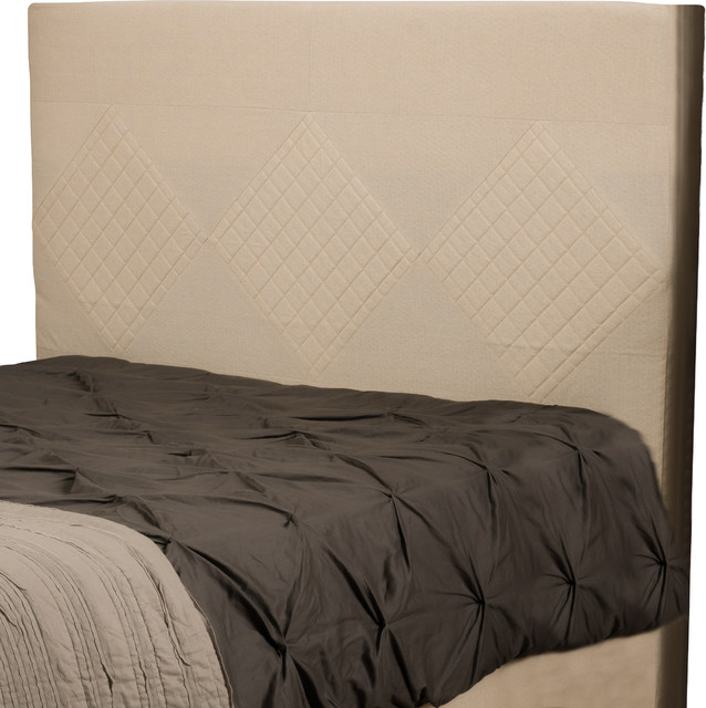 Hartman beige quilted fabric king cal king headboard contemporary headboards by great deal for Quilted headboard bedroom sets