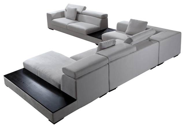 Forte Microfiber Modern Sectional Gray contemporary sectional sofas