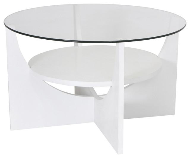 Modern white round glass coffee table uni modern for Round white coffee table modern