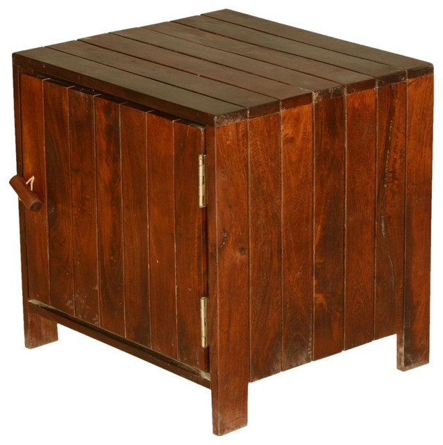 Parallel Lines Teak Wood Standing Cube File Cabinet End Table - Rustic - Side Tables And End ...