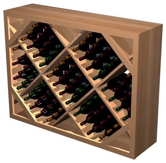 Diamond Bin Wooden Wine Rack Rustic Pine Light Stain