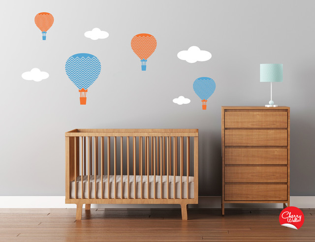 Baby nursery hot air balloons decals modern nursery for Modern nursery decor
