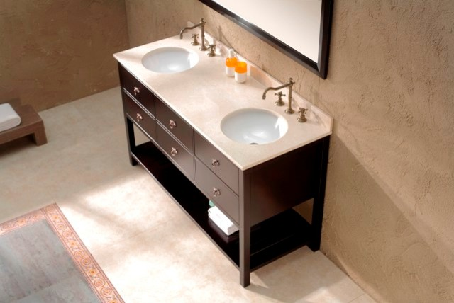 Freestanding vanity with marble top finish salerno for Marble top console sink