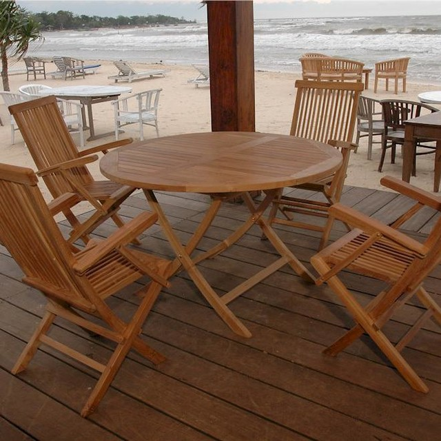 Anderson teak bahama 4 person teak patio dining set with for 4 person dining table set