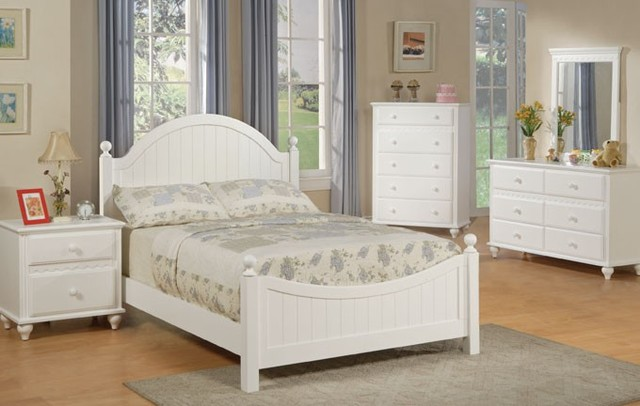 Cottage Style White Finish Wood Kids Full Panel Bedroom Set Modern Kids B