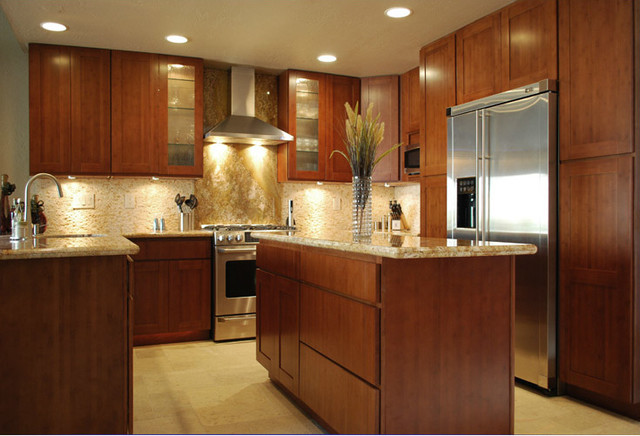 Carbonized bamboo kitchen cabinets modern kitchen for Bamboo wood kitchen cabinets