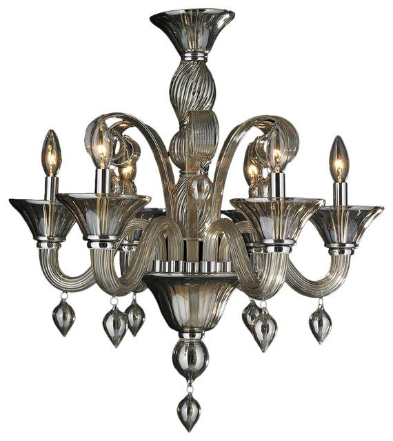 Murano Venetian Italian Light Blown Glass Golden Teak Chandelier