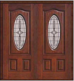 Prehung Double Door 80 Fiberglass Marsais Eyebrow Oval