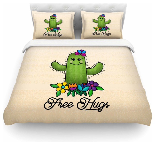 "Noonday Design ""Free Hugs Cactus"" Duvet Cover"