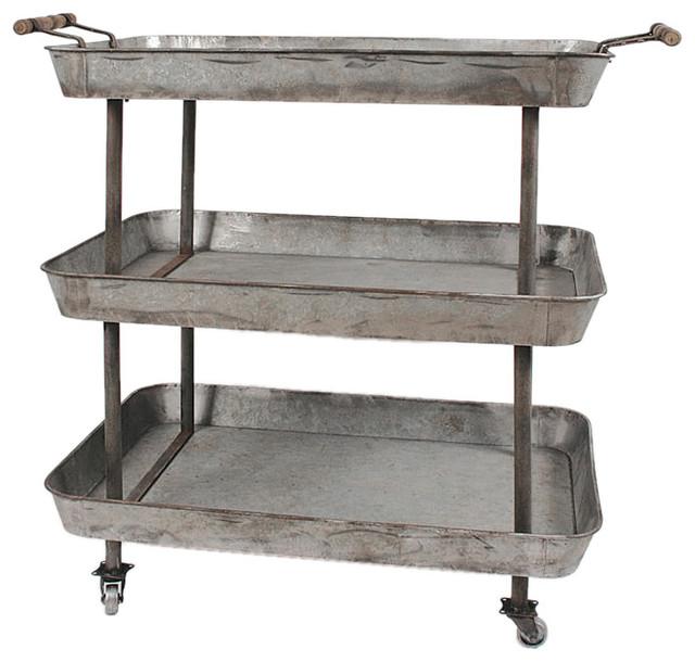 Loft Living Wood And Metal 4 Tier Rolling Cart