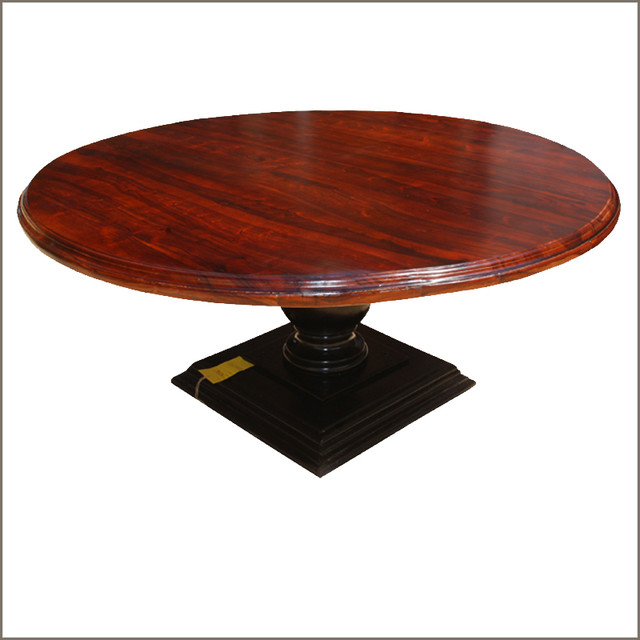"Round Solid Wood Dining Table: 72"" Solid Wood Large Pedestal Round Dining Table For 8"