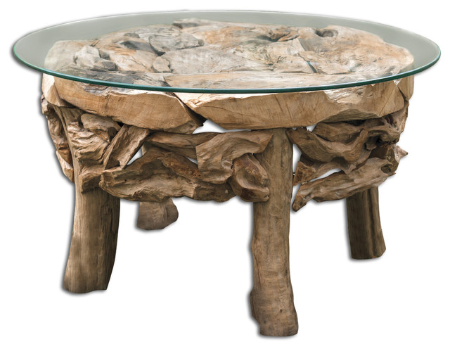 Uttermost teak root round coffee table beach style for Round coastal coffee table