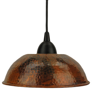 Hand Hammered Copper Dome Pendant Light Traditional