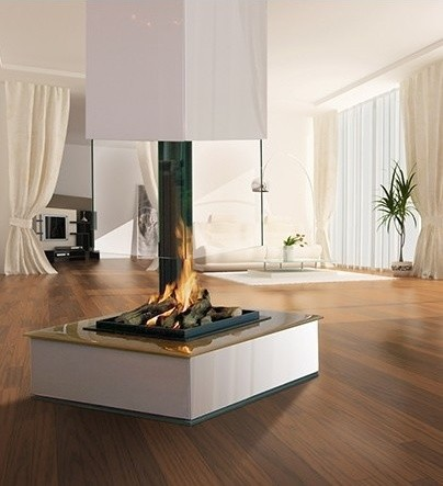 Bespoke Central Glass Fireplace Contemporary Indoor Fireplaces By The Open Fire Centre