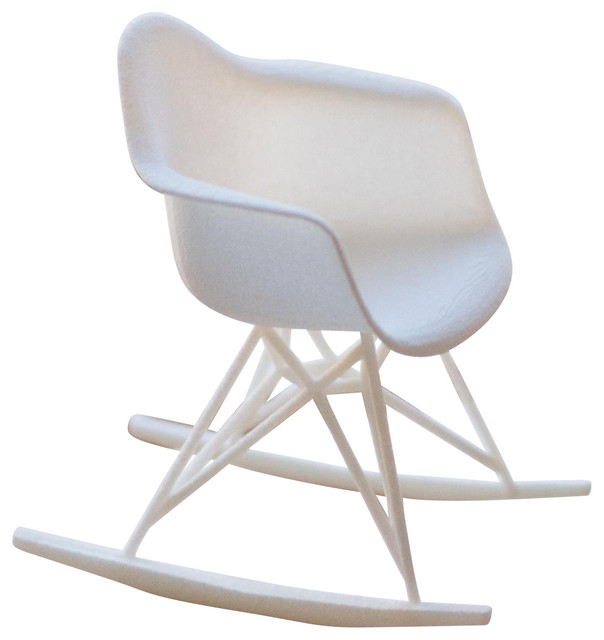 3d printed miniature eames rocker chair white midcentury decorative