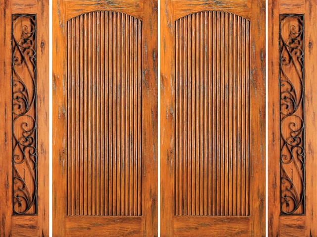 Exterior Prehung Double Door With Two Sidelights Knotty Alder Rustic Front Doors Tampa