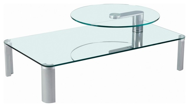 Two Tier Motion Glass Cocktail Table Modern Coffee Tables