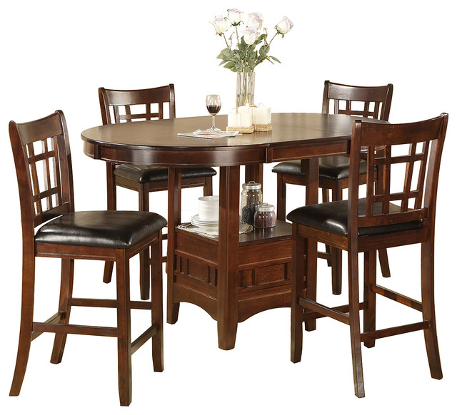 Jacksonville Storage Pub Table And 4 Chairs Set Contemporary Indoor Pub A