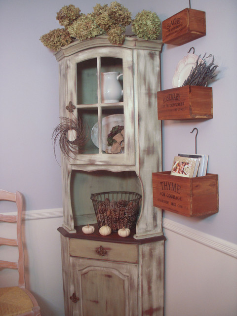 Distressed Corner Hutch - China Cabinets And Hutches - New York - by Hydrangea Home