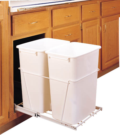 rev a shelf rv 18pb 2 s double 35 qt pullout waste container white contemporary trash cans. Black Bedroom Furniture Sets. Home Design Ideas